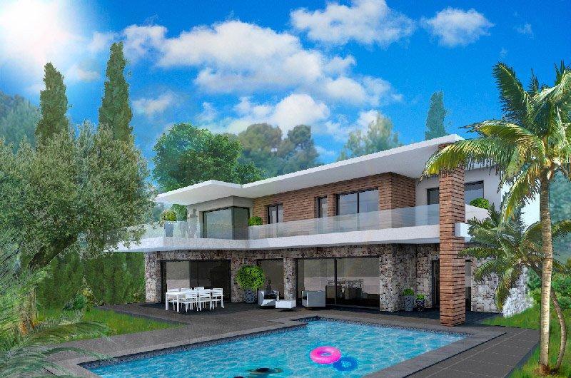 Simulation extérieur piscine